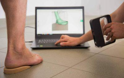 3d scanner om voet in beeld te brengen
